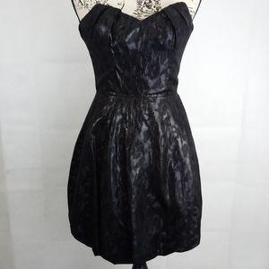 Betsy Johnson Evening Black Strapless Shiny Dress